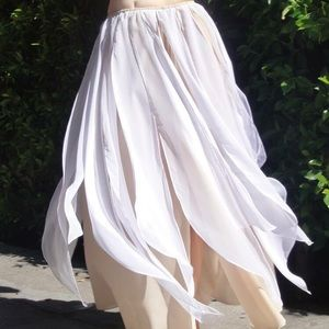 Dresses & Skirts - Ameynra Belly Dance Skirt Beige White Chiffon Mix